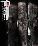 牡丹花纹身花臂